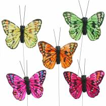 Mini butterfly on wire, assorted colors 5.5cm 24pcs