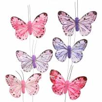 Feather butterfly metal wire pink, purple 7cm 12 p