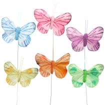 Feather butterfly on wire colored 6cm 12pcs