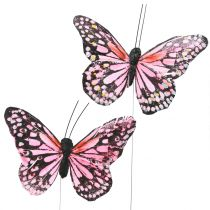 Butterfly on wire pink 11cm 12pcs