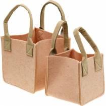 Felt planter, pink felt bag with handles, felt decoration, set of 2