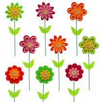 Felt flower as a plug colored assort. 7cm L25cm 18pcs