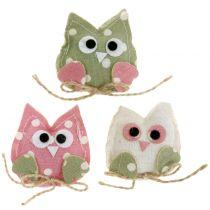 Decorative owl fabric 6cm pink / green / white 6pcs