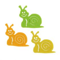 Felt snail with glue point 5cm assort. 36pcs.