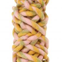 Felt cord 25m pink, yellow, green