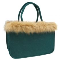 Felt bag with fur edge green 38cm x 24cm x 20cm