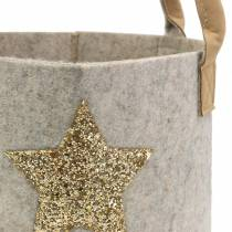 Felt bag round with sequin star, set of 2