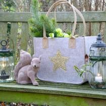Felt bag with sequin star natural set of 2