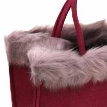 Felt bag with fur edge dark red 38cm x24cm x 20cm