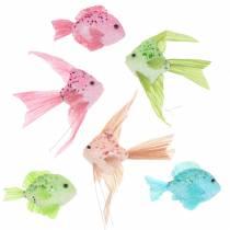Decorative fish to hang green pink orange blue 13-24cm 6pcs