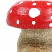 Decorative toadstools wood Ø4.6–5cm H4.6–4.9cm 6pcs