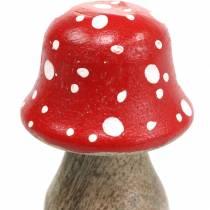 Decorative toadstools wood Ø4.6–5cm H6.8–7.2cm 4pcs
