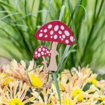 Toadstools made of wood, mushroom decoration, autumn, flower studs H7cm L34cm 18pcs
