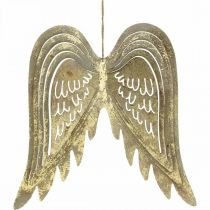 Christmas decoration angel wings, metal decoration, wings to hang golden, antique look H29.5cm W28.5cm
