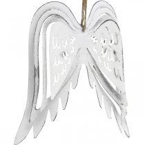 Angel wings to hang, Christmas decoration, metal pendants white H11.5cm W11cm 3pcs