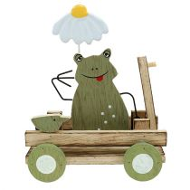 Frog in the wagon nature, green 19cm x 7cm x 14cm 4pcs