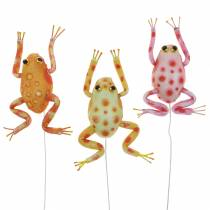 Decorative frogs with dots and wire 7.5cm 3pcs assorted