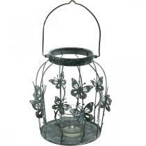 Spring decoration, lantern with butterflies, metal lantern, summer, candle decoration