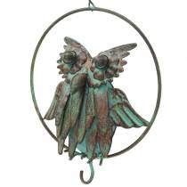 Owl in a ring as a food hanger brown-turquoise metal Ø12.9cm L42cm