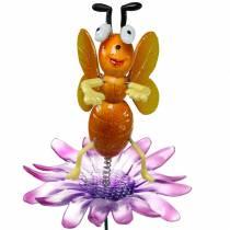 Flower pin bee on flower with metal springs orange, violet H74cm