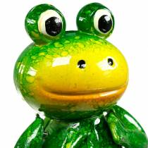 Decorative plug jumping frog with metal springs green, yellow H65.5cm