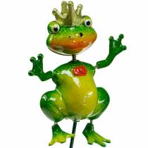 Garden plug frog prince with metal spring green, yellow, golden H68.5cm