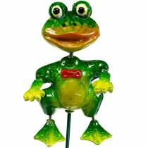 Plant plug decoration frog with bow tie and metal feathers green, yellow, red H68.5cm