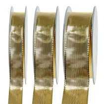 Gift ribbon gold with wire edge 25m