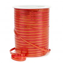 Gift ribbon red with gold stripes 4.8mm 250m
