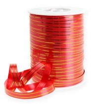 Gift ribbon 2 gold stripes on red 10 mm 250m