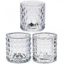 Glass lantern pattern mix, candle decoration, decorative vessel made of glass, table decoration 3pcs in a set