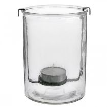 Lantern glass with tealight holder black metal Ø13.5 × H20cm