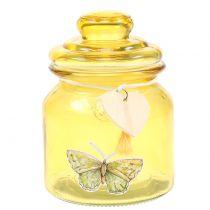 Glass jar Bonboniere yellow Ø11cm H15.5cm