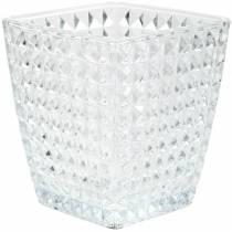 Glass lantern cube facetted pattern, table decoration, glass vase, glass decoration 2pcs