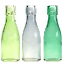 Glass bottle vase Ø5cm H16cm green / gray 6pcs