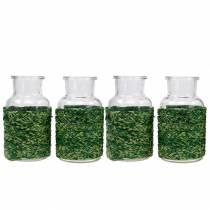Decorative bottle glass with raffia green H10cm 4pcs
