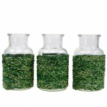 Glass bottle with raffia green H12.5cm 3pcs