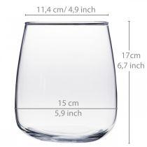 Glass vase, flower vase, decorative vase Ø15cm H17cm