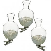 Glass vase with clip glitter and pearls Ø4.9cm H9.5cm clear 3pcs