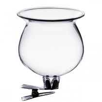 Glass vase bell with clip clear Ø5.5cm H6cm 4pcs
