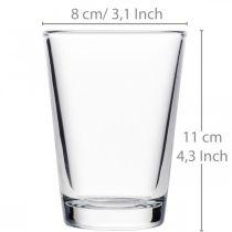 Clear glass vase Ø8cm H11cm for table decoration