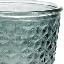 Lantern with foot, cup glass, decorative glass gray Ø10cm H18.5cm