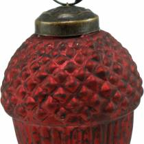 Tree decorations cones red real glass 9cm 3pcs
