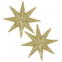Glitter star gold Ø10cm 12pcs