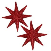Glitter star red Ø10cm 12pcs