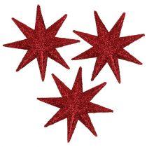 Glitter star red Ø5cm 20pcs