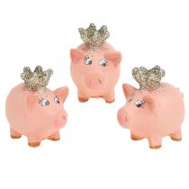 Lucky pig pink with crown 4cm 6pcs
