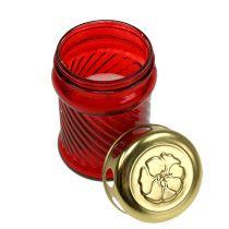 Glass grave candles red Ø6cm H11cm 12pcs