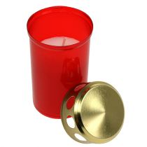 Grave candle cylindrical red Ø6cm H12cm 12pcs