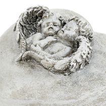 Grave decoration hearts with angel 9cm 3pcs